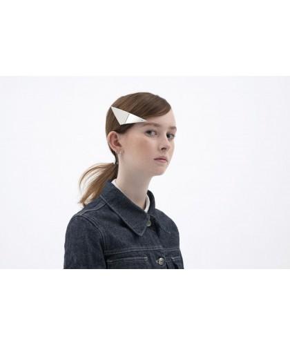 Barrette cheveux triangle plate et argentée