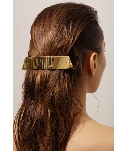Barrette cheveux 3D en or et argent brillant