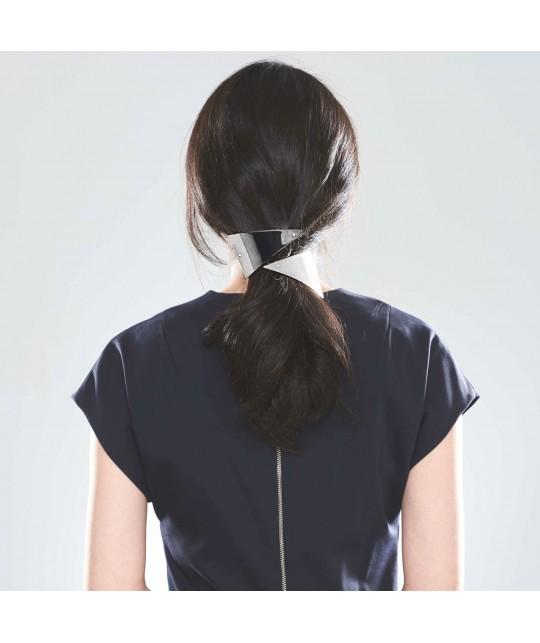 Barrette triangle en métal argent pour cheveux épais et asiatiques