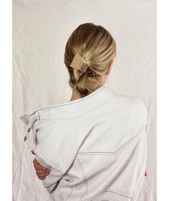 Barrette cheveu style année 90 en triangle métal doré