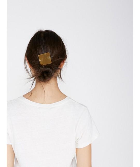 Hair clip forme carré ou ovale en or